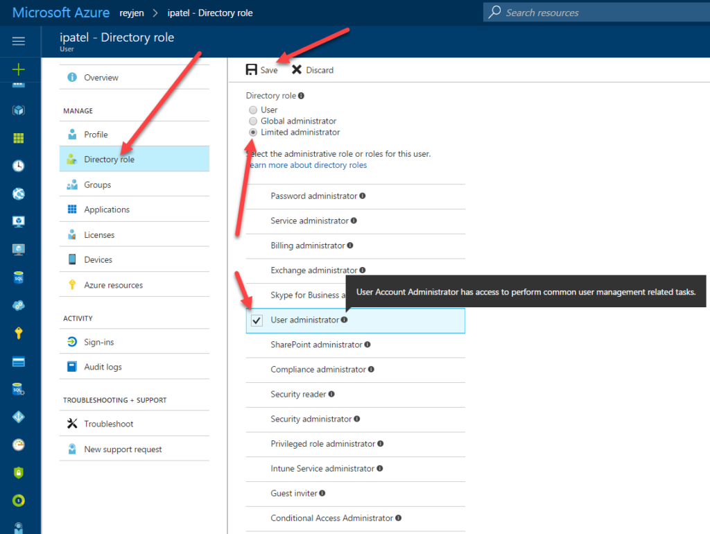Role in Azure Active Directory to Grant Access to Create and