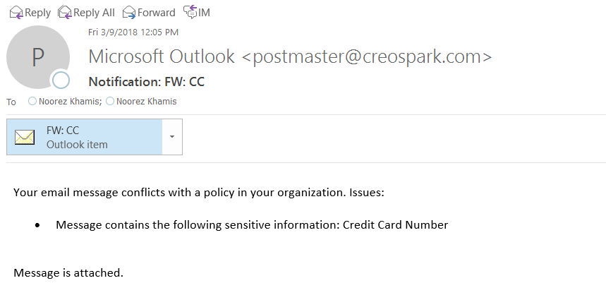 Office 365 Data Loss Prevention (DLP) Notifications in