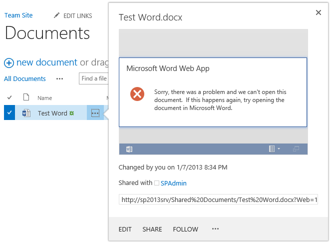cannot edit word document from sharepoint site