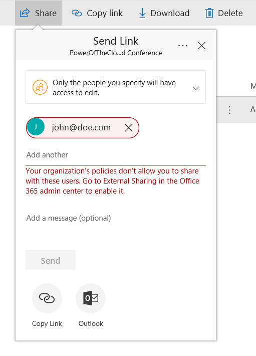 A Mail-enabled security group must be used to allow the