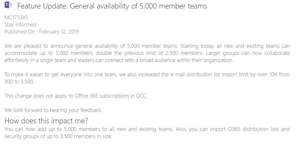 MS Teams now supports up to 5000 users for each team